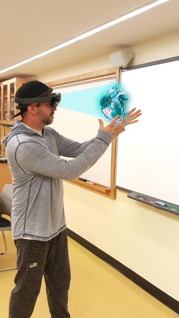Student wearing visor