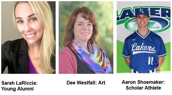 Three headshots of honored alumni