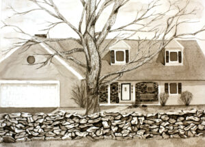 Pen and ink drawing of a house with a tree and stone wall
