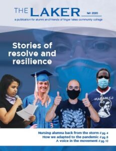 "Cover of Laker magazine showing five people plue the text ""Stories of resolve and resilience"""