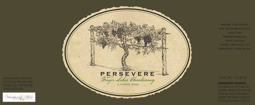 Wine label with a grape vine and the name Persevere